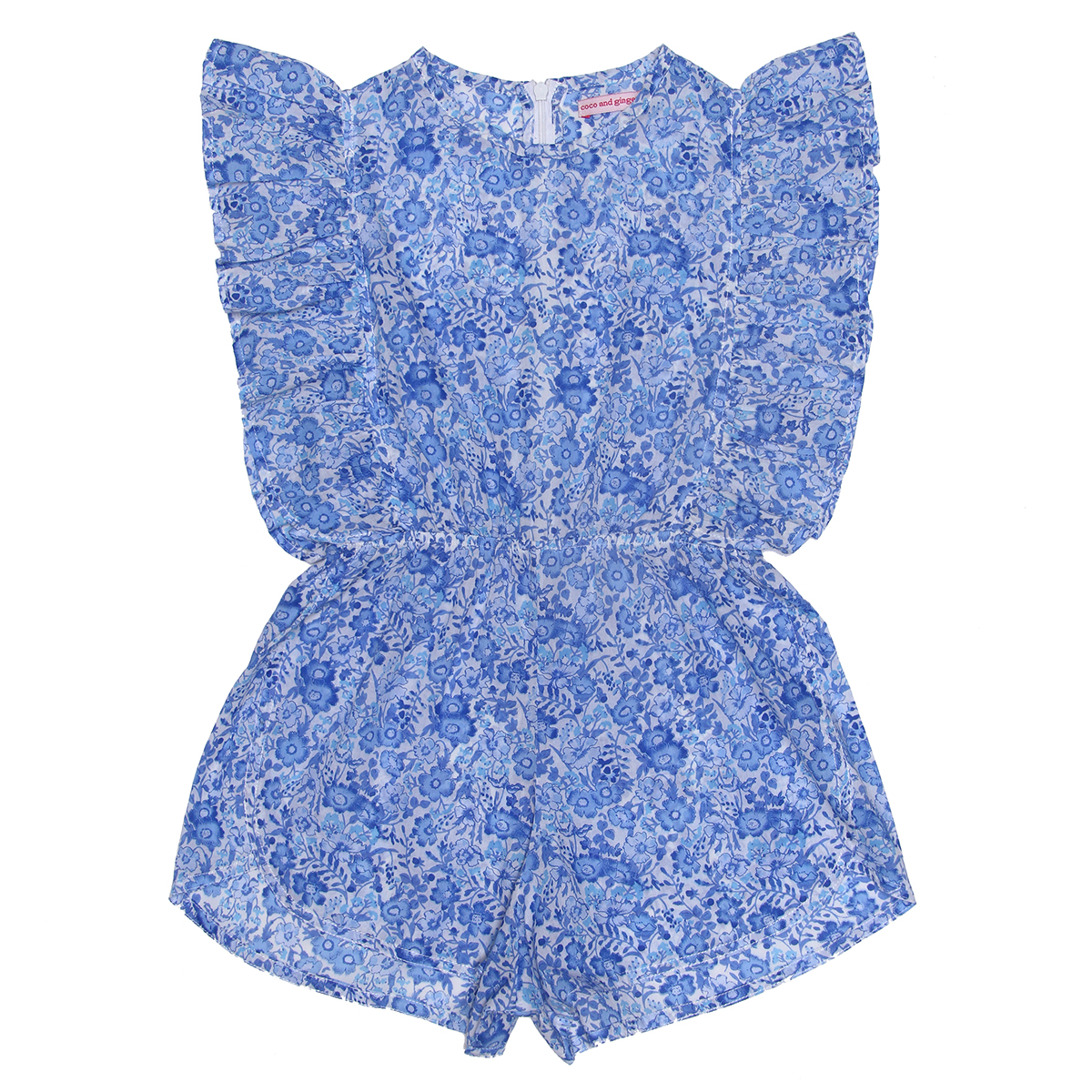 Coco Ginger SS19 Playsuit Delphine Porcelain Indian Flowers