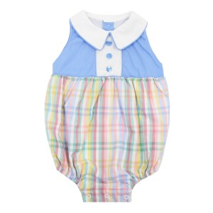 Dondolo Toby Bubble Romper in Blue Check