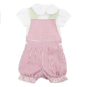 Dondolo Tess Overall Set in Red & Green Stripe