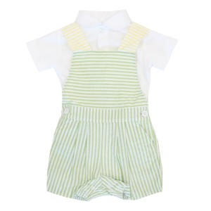 Dondolo Theo Overall Set in Green & Yellow Stripe