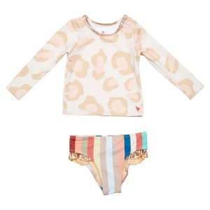 Pink Chicken Rash Guard Set in Vintage Leopard and Multi Stripe