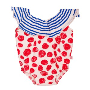 Noe & Zoe Blue Stripe Collar Romper with red dots