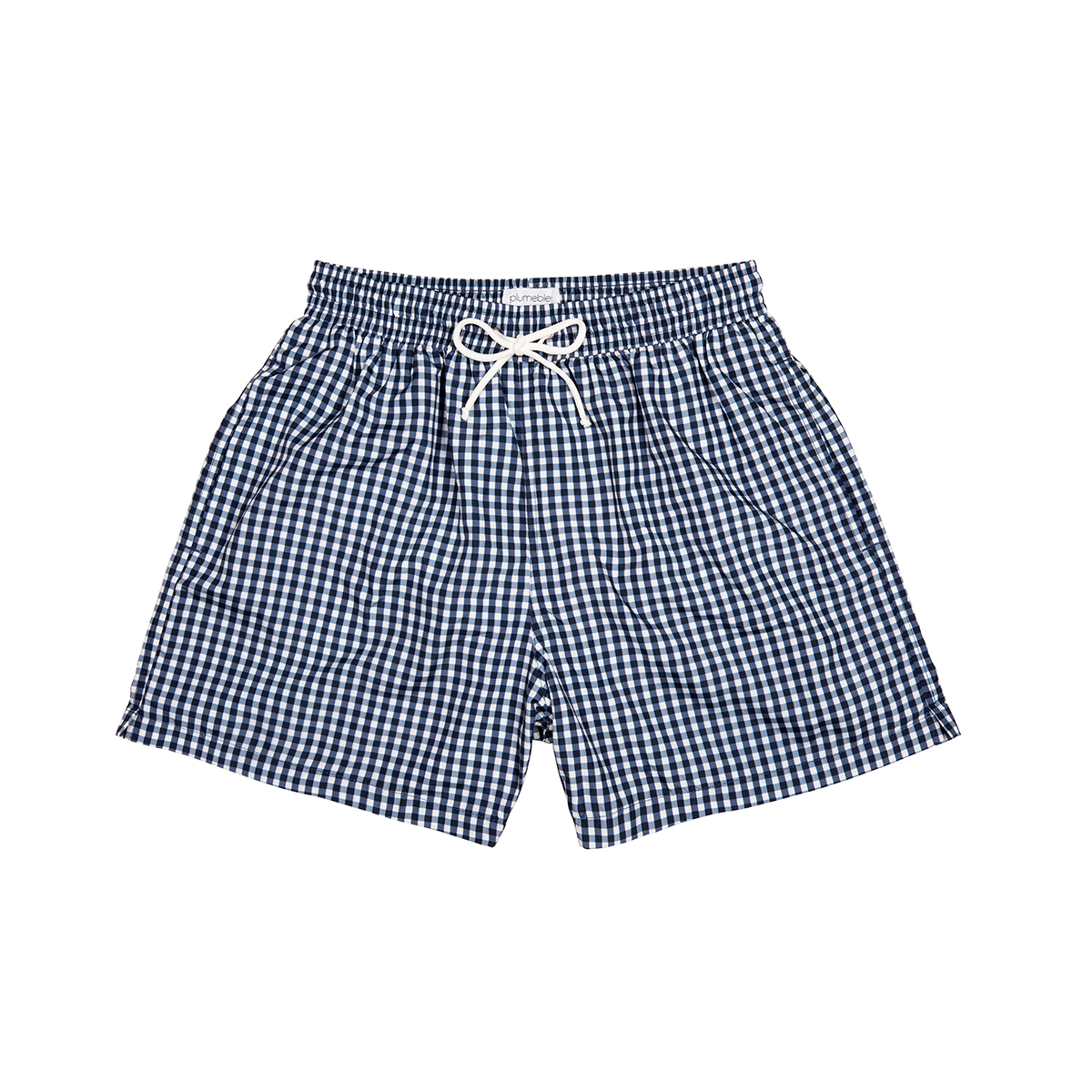 Plumebleu Men's Gary Swim Short in Midnight Blue Gingham