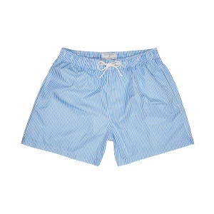 Plumebleu Men's Ray Swim Shorts in Light Blue Stripe