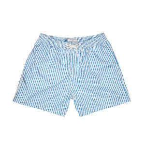 Plumebleu Men's Theo Swim Short in Light Blue Stripes with Dots