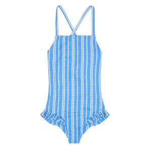 Plumebleu Rose One Piece Swimsuit in Light Blue with White Heart Stripes