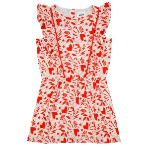 Blune Que je T'aime Dress in White with Red