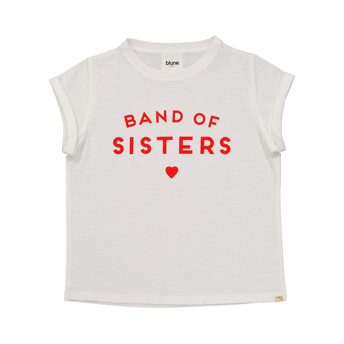 Blune Band of Sisters Short Sleeve T-Shirt in White & Red