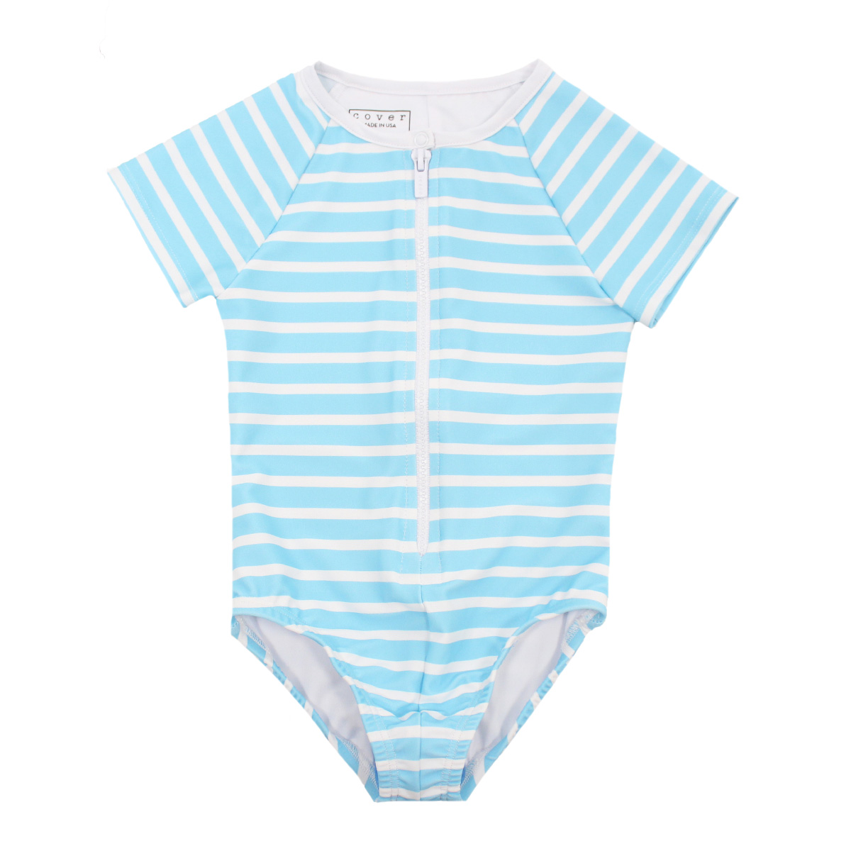 Cover Swim x The Tot Short Sleeve Zip Front Swimsuit in Blue Stripe