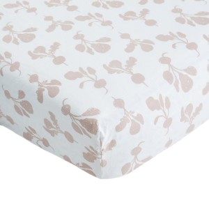 Lewis Home Crib Sheet in Radish Mauve Print