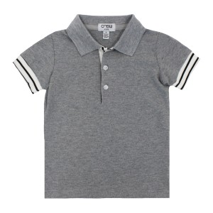 Crew Striped Cuff Polo in Grey