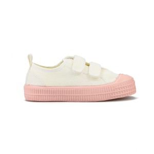Novesta Kid Star Master Velcro Shoe with Color Sole in White with Pink