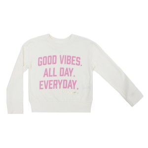Spiritual Gangster Good Vibes Everyday Sweatshirt in Ivory & Pink