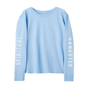 Spiritual Gangster Long Sleeve Spiritual Gangster T-Shirt in Aqua Blue