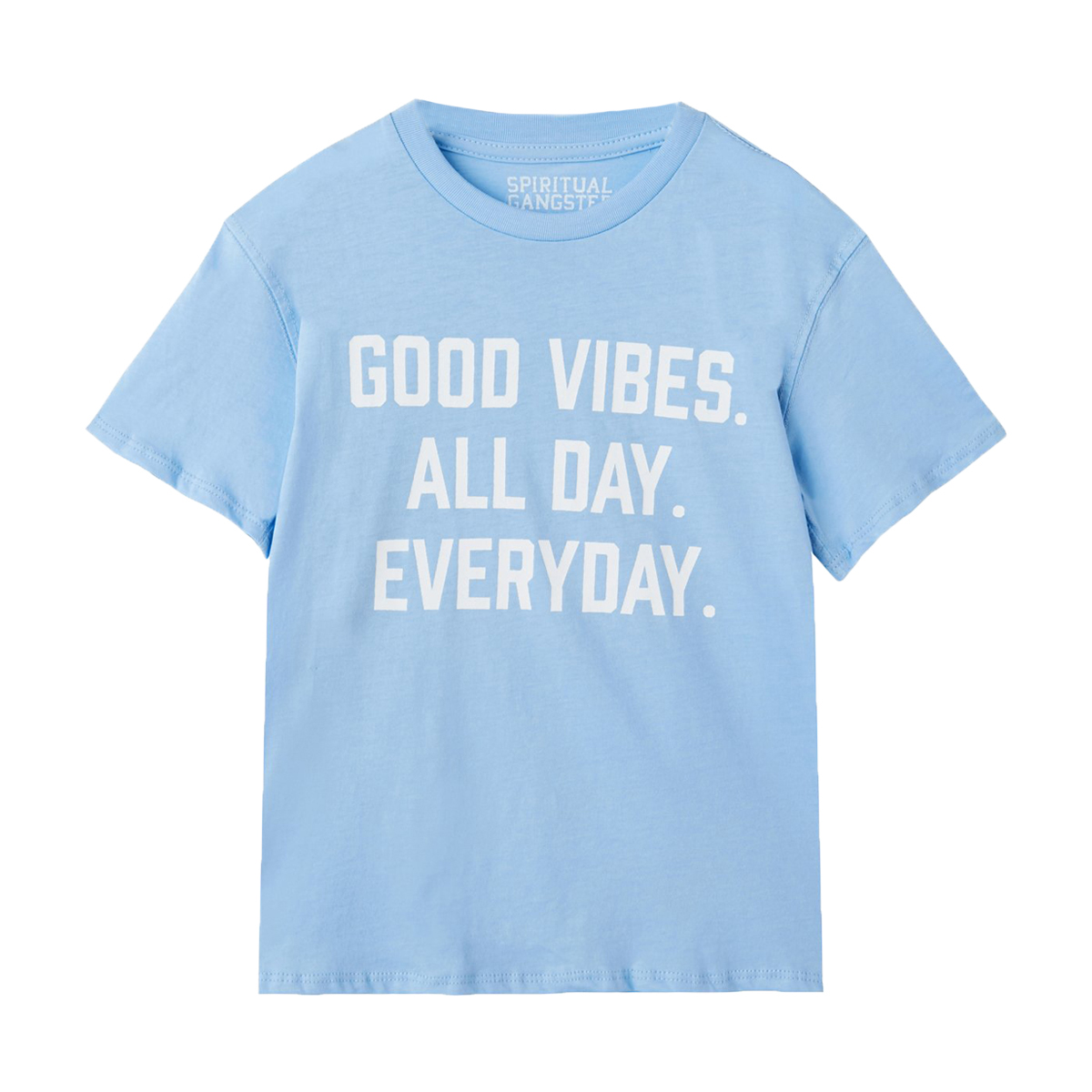 Spiritual Gangster Short Sleeve Good Vibes All Day Everyday T-Shirt in Blue