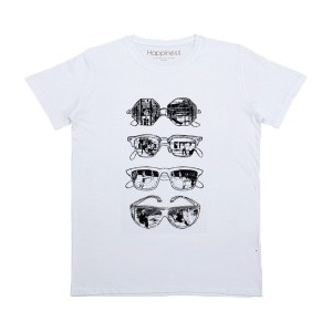 Happiness Short Sleeve Sunglass T-Shirt in White