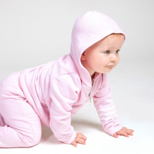 Sol Angeles Waves French Terry Hoodie in Seashell Pink on baby