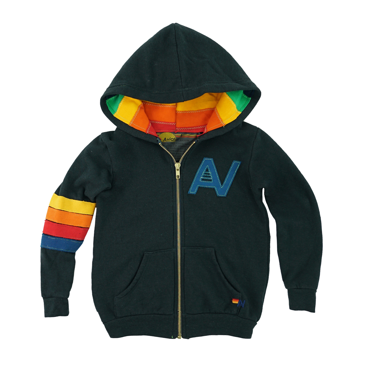 Aviator Nation Signature Zip Hoodie in Charcoal