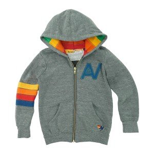 Aviator Nation Signature Zip Hoodie in Heather Grey