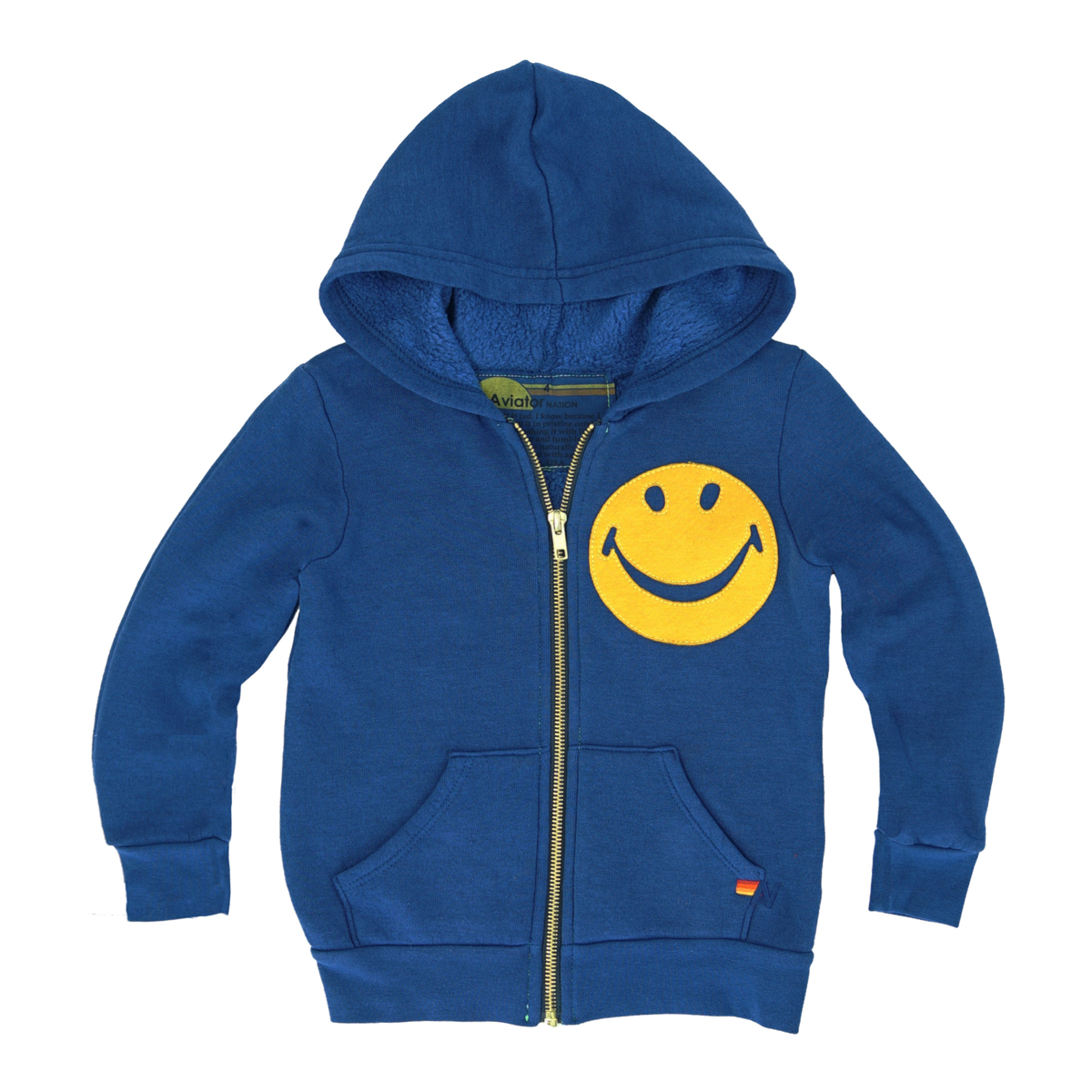 Aviator Nation Smiley Zip Hoodie in Royal Blue