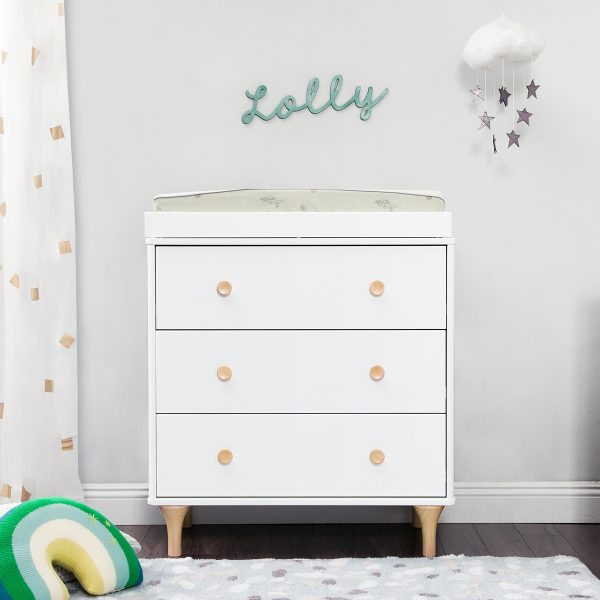 Babyletto Lolly 3-in-1 Convertible Crib Changer Dresser in White+Natural AW19