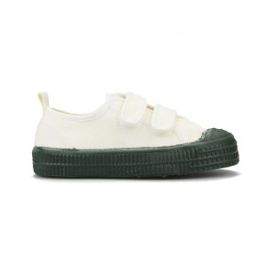 Novesta Star Master Velcro Kids Shoe in White with Dark Green