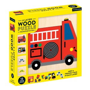 Mudpuppy Transportation 4 Layer Wood Puzzle