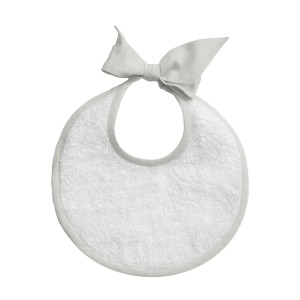 Louelle Round Newborn Bib in French Grey