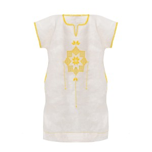 Mairik Kids Short Sleeve Linen Arax Dress in Yellow