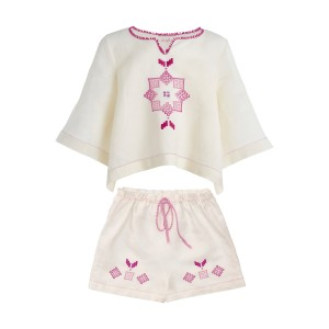 Mairik Kids Linen Shirt & Short Set in Pink