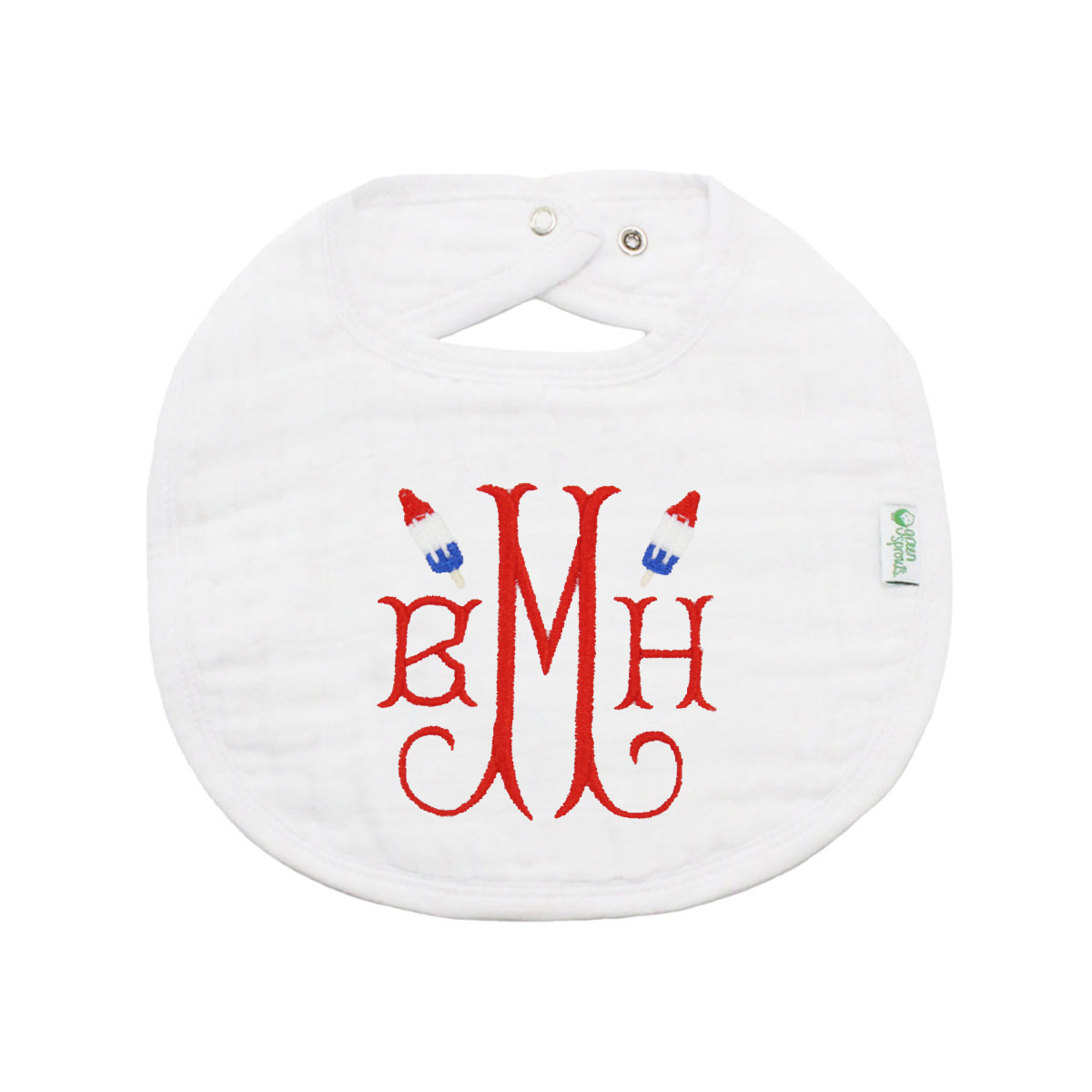 The Tot Monogram Bib in White with Popsicles Embroidery