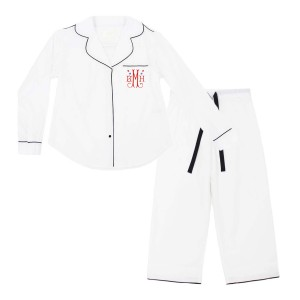 Piu Kid Pajama Set in White with Black Piping and Popsicles Embroidery