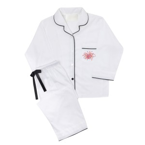 Piu Adult Pajama Set in White with Black Piping and Fireworks Embroidery