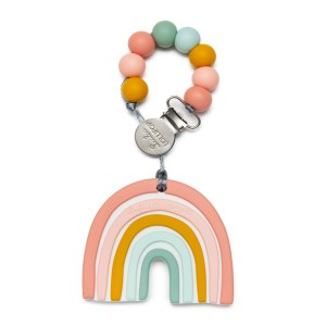 Loulou Lollipop Pastel Rainbow Teether with Clip