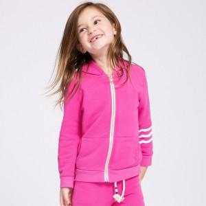 Sol Angeles Waves Hoodie in Bright Pink on girl
