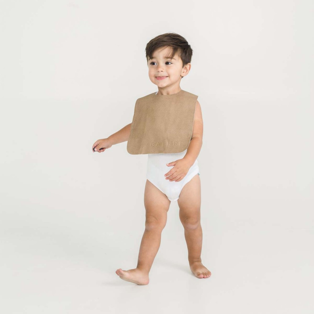 Gathre Vegan Leather Bib in Tannin Brown on boy
