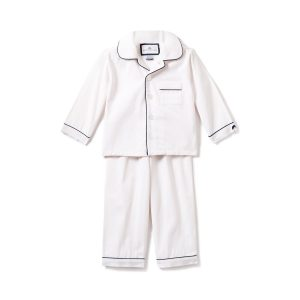 Petite Plume Kids White Pajama with Navy Piping
