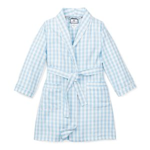 Petite Plume Kids Light Blue Gingham Robe