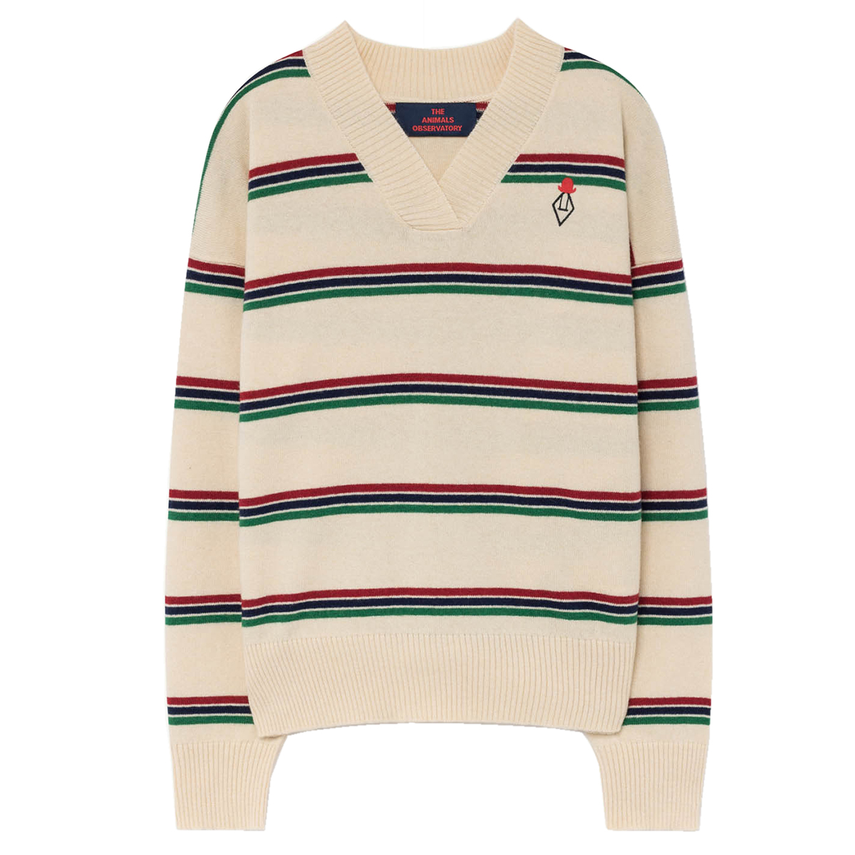 The Animals Observatory Toucan Knit Sweater in Cream Stripe