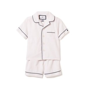 Petite Plume Kids White Short Set Pajamas with Navy Piping