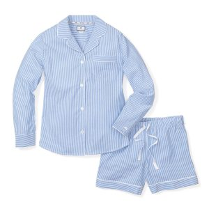 Petite Plume Women's French Blue Seerksucker Long sleeve and shorts pajama set