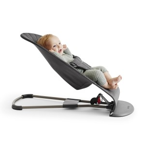 Baby Bjorn Bouncer Bliss in Anthracite Cotton with baby