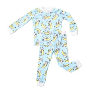 Little Sleepies Long Sleeve Pajama Set in Banana Blue