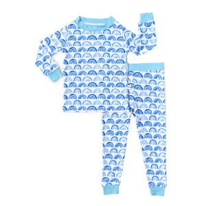 Little Sleepies Long Sleeve Pajama Set in Blue Rainbow