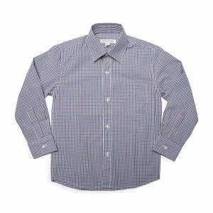 Appaman Standard Burgundy Blue Gingham Long Sleeve Button Down Shirt
