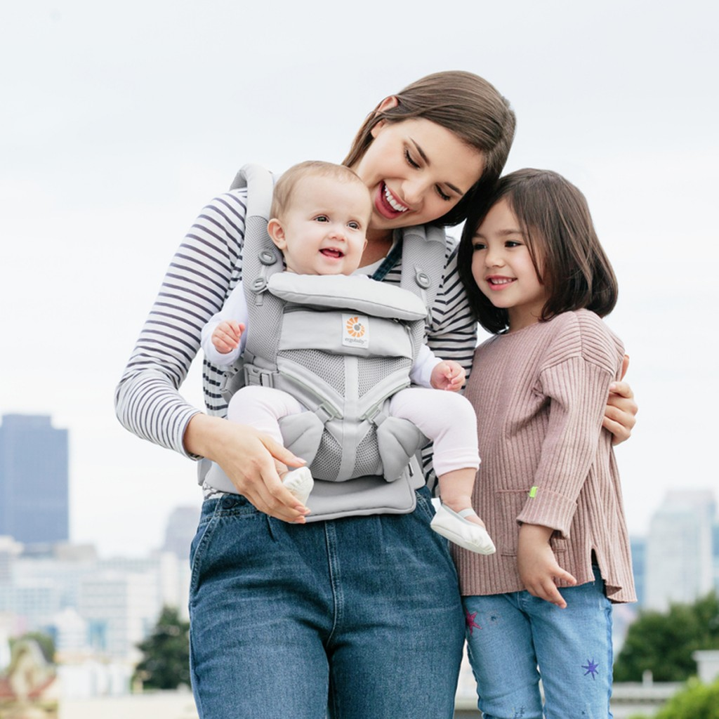 Ergobaby 360 Cool Air Carrier in Pearl Grey with baby