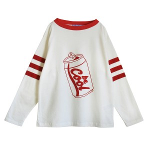 Bandy Button Wow Sweatshirt in White/Red