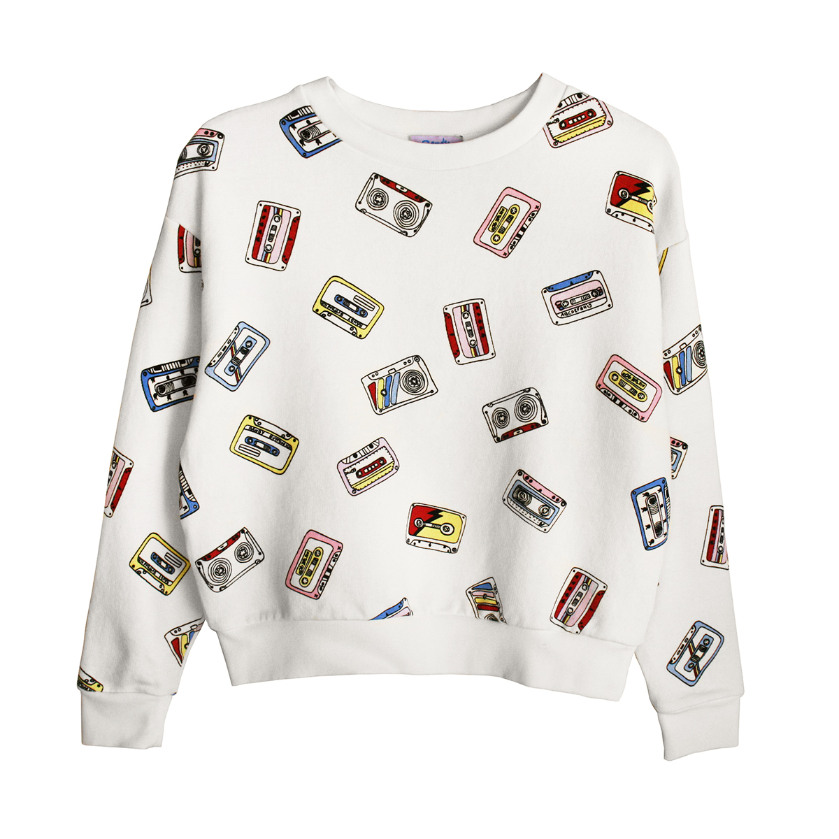 Bandy Button K7 Sweatshirt in White with Multi Colored Cassette Tapes