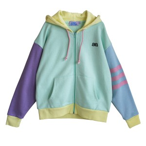 Bandy Button Smile Hooded Sweatshirt in Light Blue with Pastel