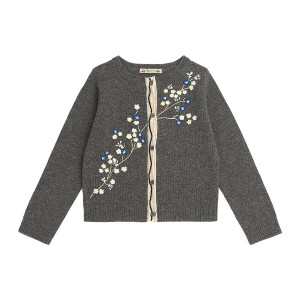 Bonpoint Broderie Fleurs Cardigan in Gris Fonce